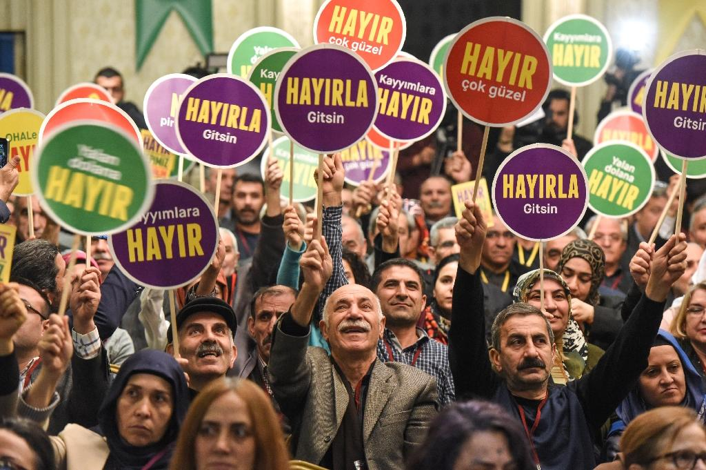"Turkish supporters of the Peoples' Democratic Party (HDP) launch the party's campaign for a ""No"" vote in April's referendum, during a rally in Istanbul, on March 2, 2017"