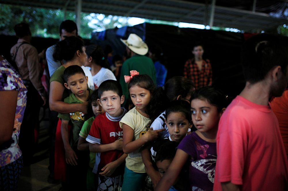 Children at a shelter for displaced people from Caluco, El Salvador,