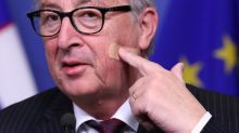 Don't blame Theresa May, EU's Juncker jokes of face wound