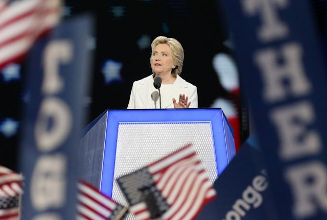 Hillary Clinton officially accepted her party's nomination for president Thursday night at the Democratic National Convention in Philadelphia. (Photo: Paul Morigi/WireImage)