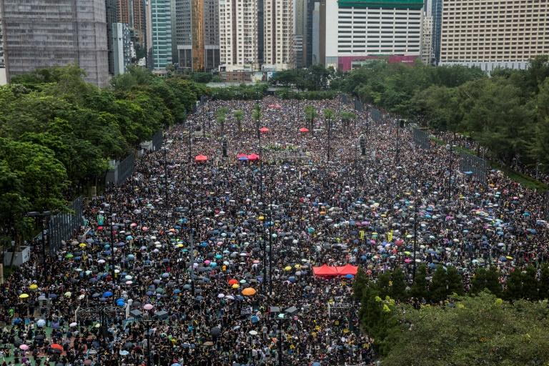 Organisers of the rally, which started at Hong Kong's Victoria Park, said it was an attempt to wrestle the narrative of the protest back to its peaceful origins (AFP Photo/ISAAC LAWRENCE)