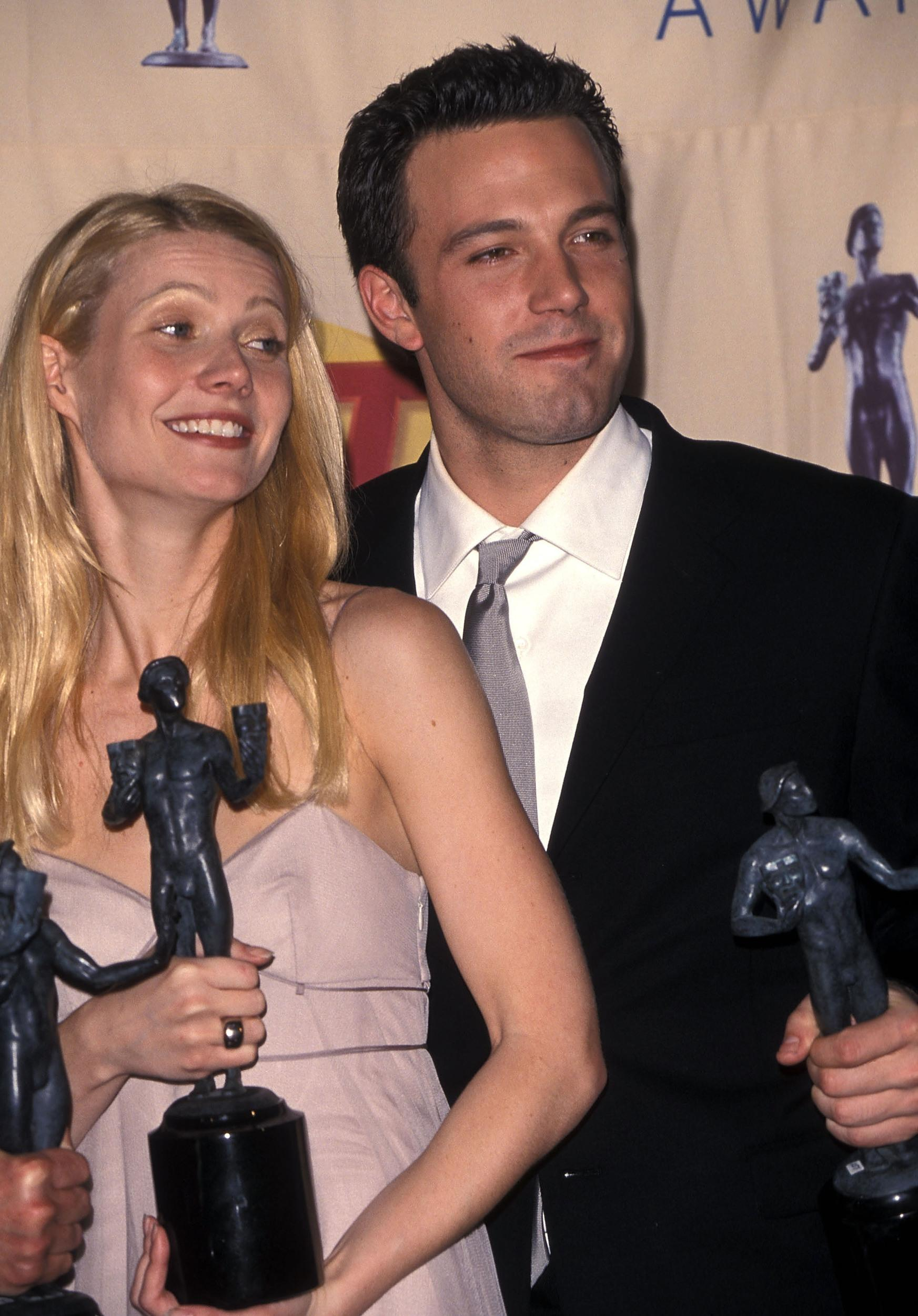 Actress Gwyneth Paltrow and actor Ben Affleck attend the Fifth Annual Screen Actors Guild Awards on March 7, 1999 at the Shrine Auditorium in Los Angeles, California. (Photo by Ron Galella, Ltd./WireImage)