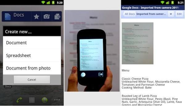 Google Docs gets an Android app, lets you capture text with your phone's camera