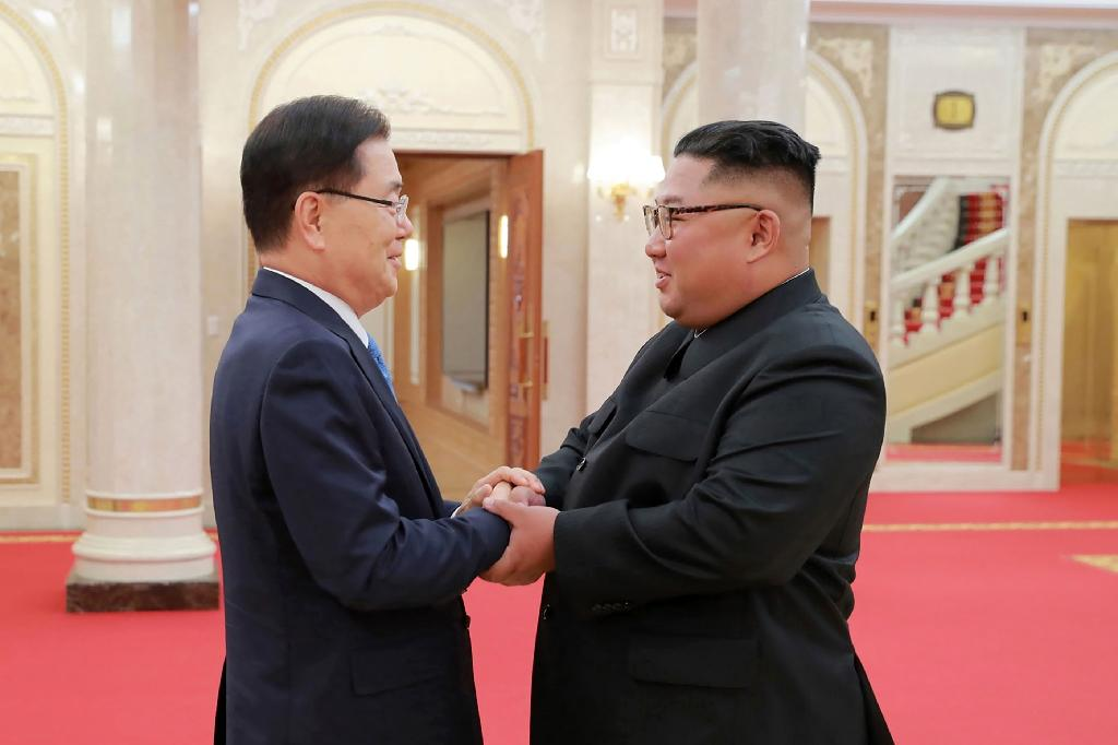 Kim Jong Un will host South Korean President Moon Jae-in for a summit in Pyongyang in September (AFP Photo/KCNA VIA KNS)