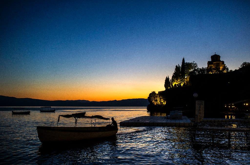 St John Kaneo Church on Lake Ohrid in Macedonia, an area environmentalists say is under threat from multiple development plans (AFP Photo/Robert ATANASOVSKI)