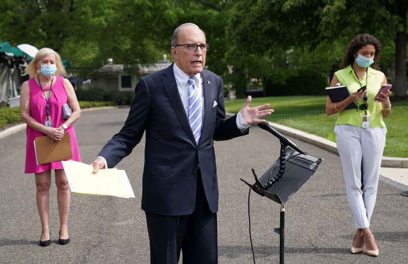 Larry Kudlow speaks about the economy at the White House in Washington