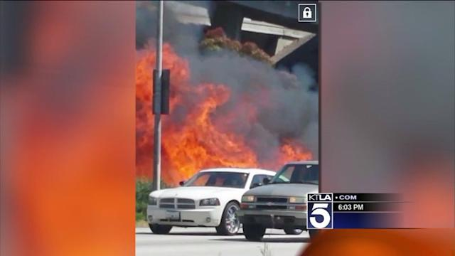 Vegetation Fire Burns 2 Acres Next to 405 Freeway Near LAX