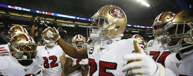 The 49ers before a key Week 17 victory in Seattle. (Getty Images)