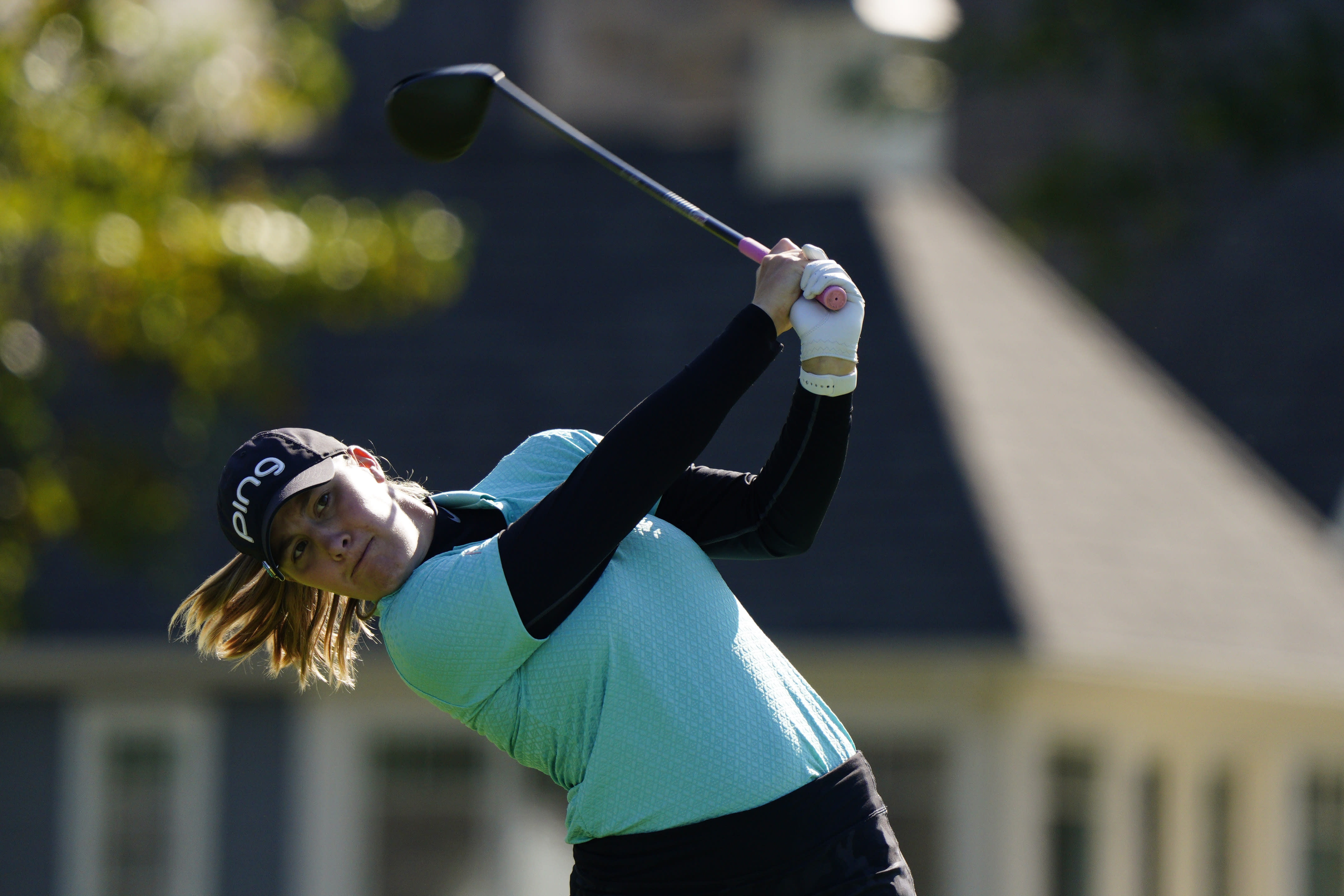 Jennifer Kupcho watches her tee shot on the seventh hole during the second round of the KPMG Women's PGA Championship golf tournament at the Aronimink Golf Club, Friday, Oct. 9, 2020, in Newtown Square, Pa. (AP Photo/Chris Szagola)