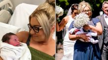 Bridesmaid makes it to sister's wedding five hours after giving birth
