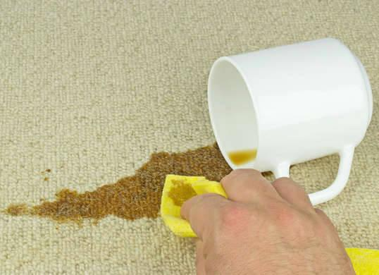 """<p>Spills are inevitable, but how you <a href=""""http://www.bobvila.com/slideshow/12-genius-tips-for-everyday-speed-cleaning-49561"""" rel=""""nofollow noopener"""" target=""""_blank"""" data-ylk=""""slk:clean"""" class=""""link rapid-noclick-resp"""">clean</a> them makes all the difference. The most important carpet commandments to keep in mind are to work quickly and never rub. Dab cleaning solution onto the trouble spot immediately—the longer you wait, the harder it will be to remove the stain. Then, blot with paper towels or a clean cloth, as this gently puts a small amount of pressure on the liquid, helping to soak it up instead of letting it set in. Remember to blot from the outside in to prevent the spill from spreading. <i>Photo: fotosearch.com</i><b><br>RELATED: <a href=""""http://www.bobvila.com/slideshow/how-to-get-rid-of-every-carpet-stain-48246"""" rel=""""nofollow noopener"""" target=""""_blank"""" data-ylk=""""slk:How To—Get Rid of Every Carpet Stain"""" class=""""link rapid-noclick-resp"""">How To—Get Rid of Every Carpet Stain</a></b></p>"""