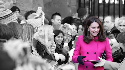 Duchess of Cambridge recycles hot pink Mulberry coat for Coventry trip