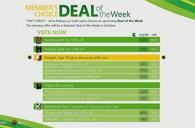 Xbox Live subscribers can vote for upcoming Deal of the Week