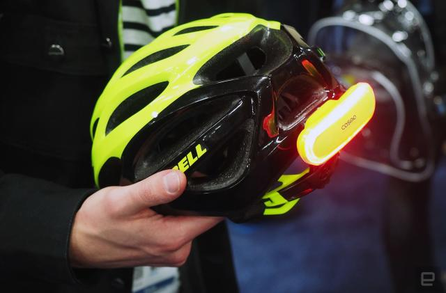 Cosmo's bike helmet light will alert others when you fall
