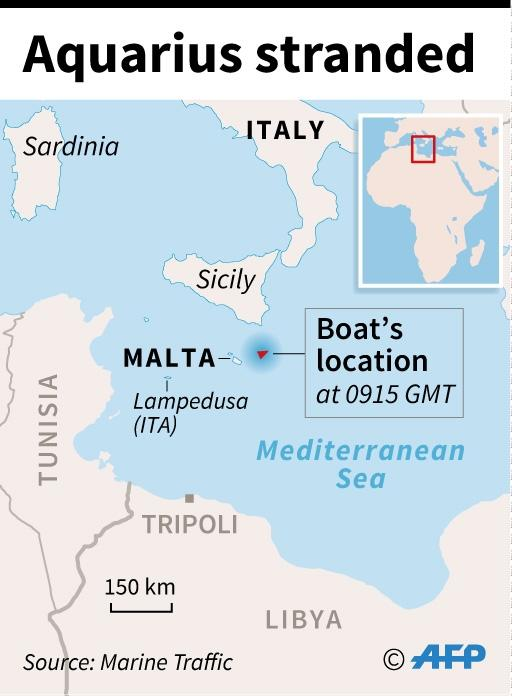 Map of the Mediterranean locating the position of the Aquarius (AFP Photo/Paz PIZARRO)
