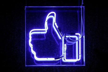 A Facebook like button is pictured at the Facebook's France headquarters in Paris
