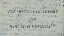 Internet sleuths hope to find woman who penned love letter to her best friend on plane barf bag