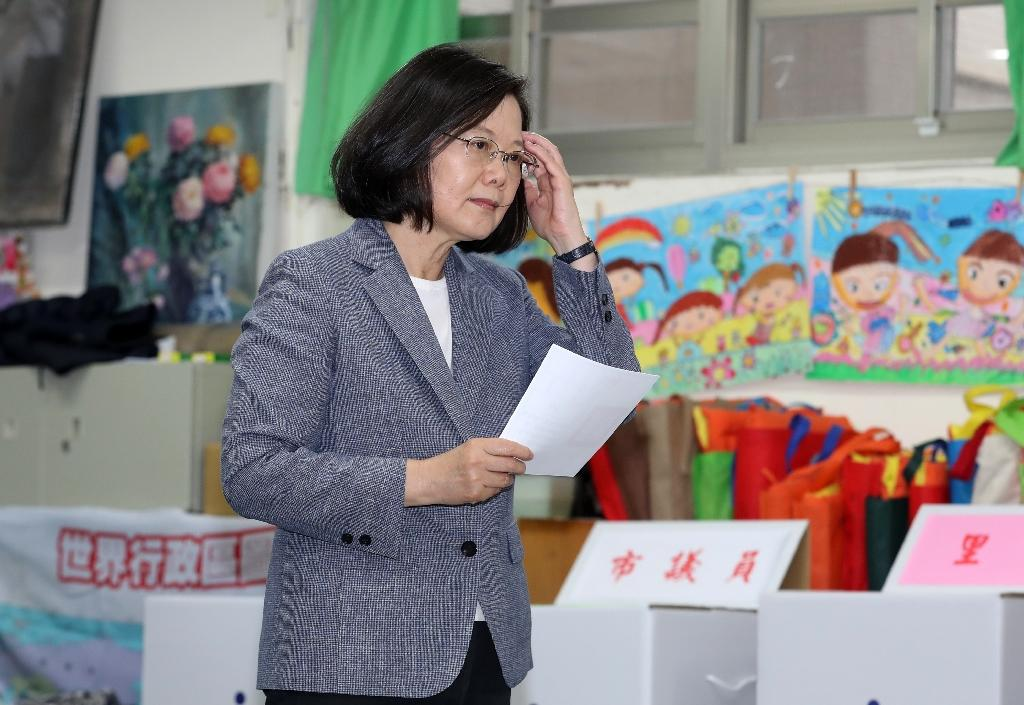 Taiwan's President Tsai Ing-wen faces a battle to win back the confidence of her electorate after bruising mid-term elections (AFP Photo/CHANG Hau-an)