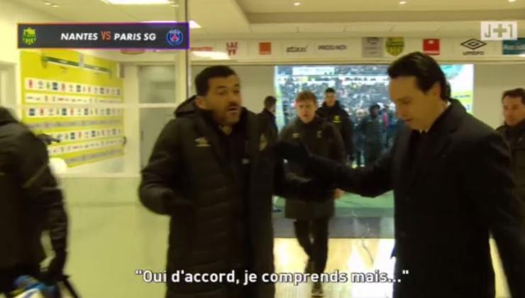 psg echanges tendus entre unai emery et sergio concei ao l entra neur de nantes vid o video. Black Bedroom Furniture Sets. Home Design Ideas