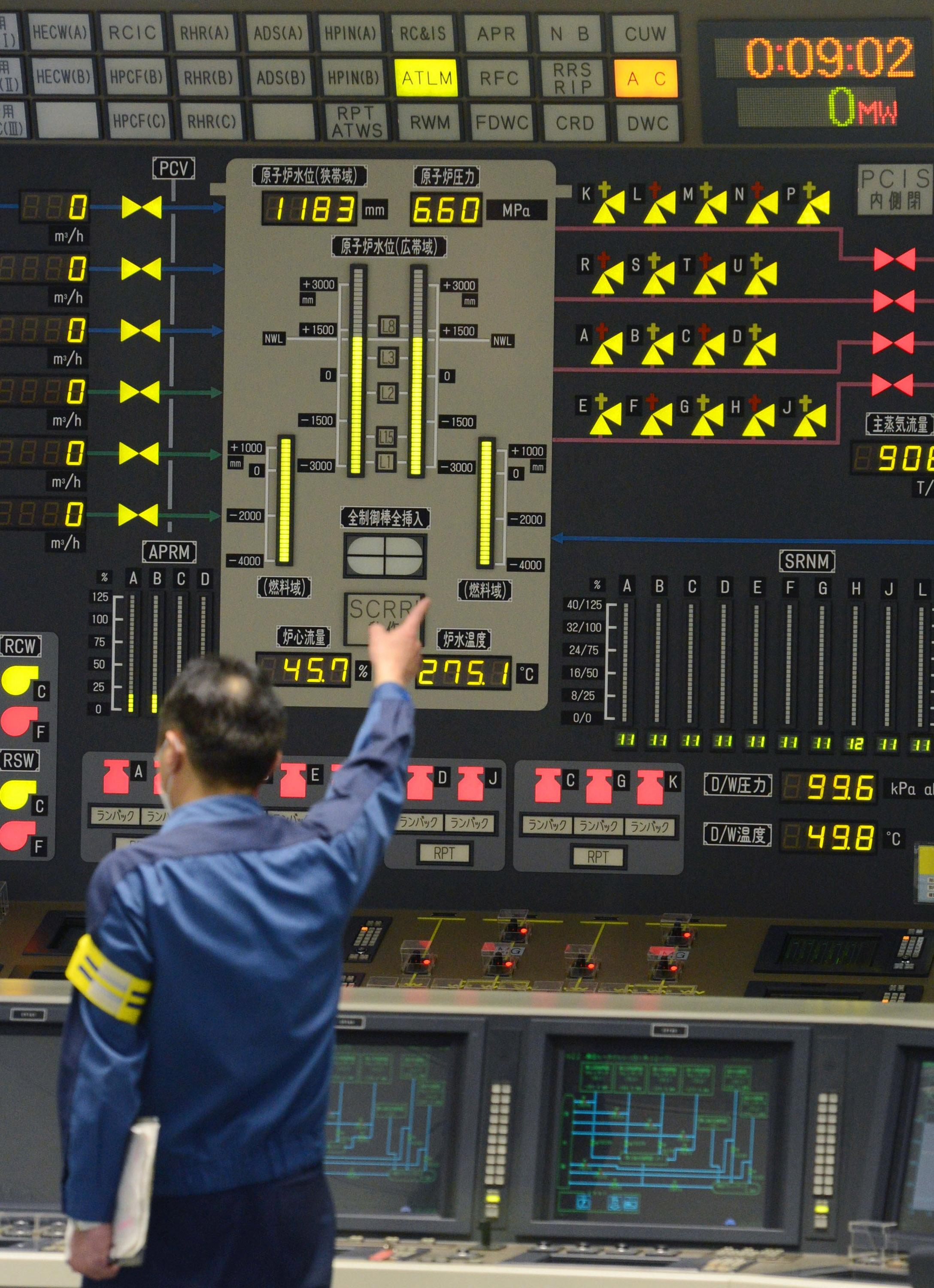 A worker gestures inside the central control room of the No. 6 reactor at the Tokyo Electric Power Company's nuclear power plant in Kariwa village in Kashiwazaki City, northwest of Tokyo early Monday, March 26, 2012, after it was taken off line. The nuclear reactor was taken off line for maintenance on Monday, leaving the country with only one of its 54 reactors operational following last year's devastating earthquake and tsunami. (AP Photo/Kyodo News) JAPAN OUT, MANDATORY CREDIT, NO LICENSING IN CHINA, HONG KONG, JAPAN, SOUTH KOREA AND FRANCE