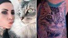 Mulher faz tatuagem com pelos de seu gato
