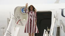 Melania Trump lands in Ghana in Celine striped shirtdress