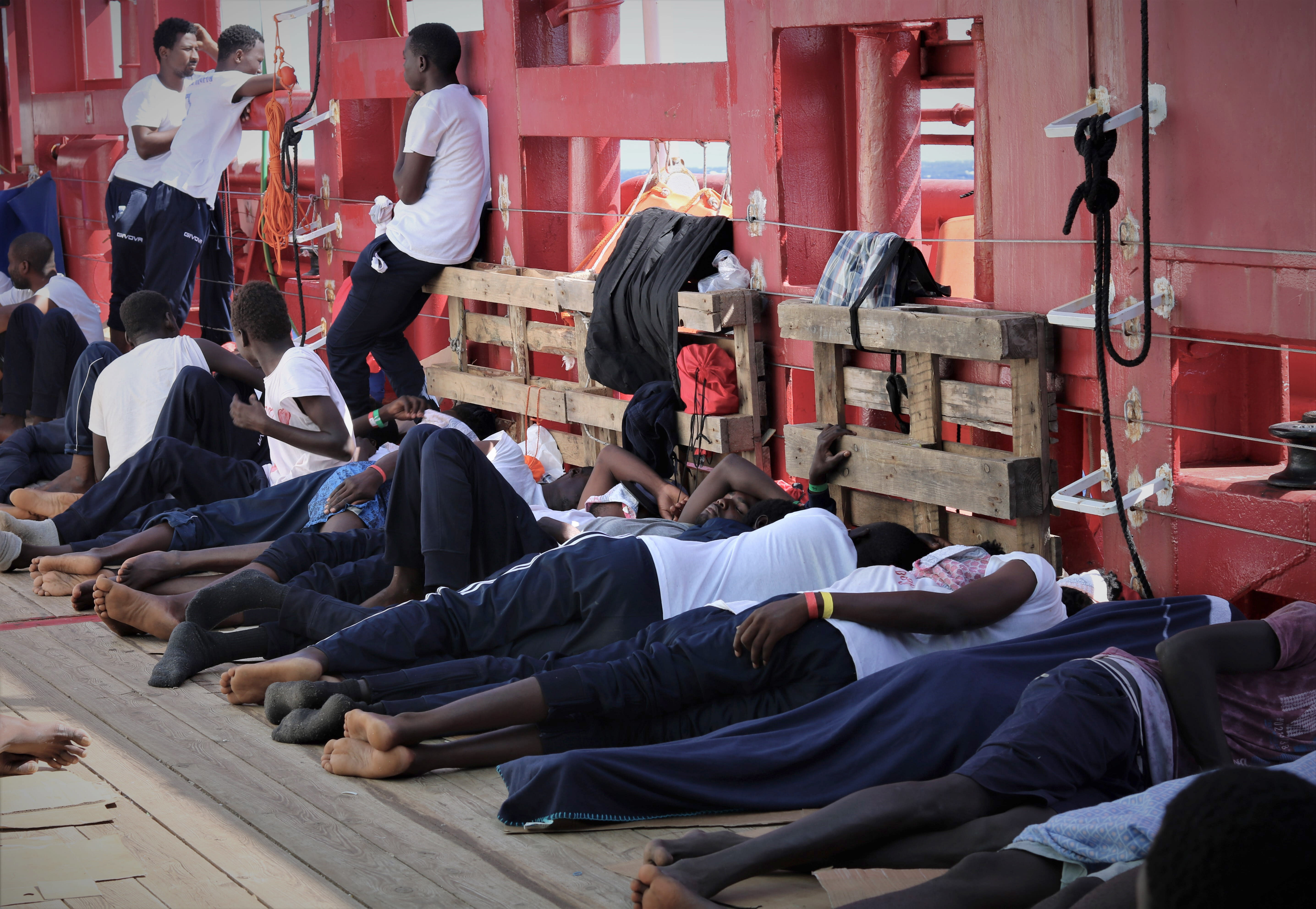 The Latest: Portugal offers to take 35 people from Med  ship