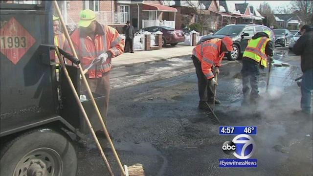 Filling potholes around NYC