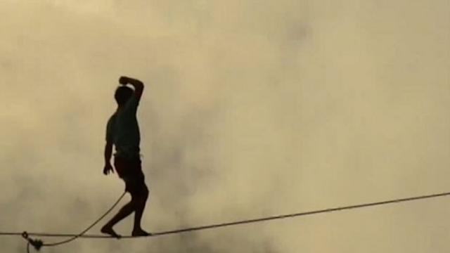 Female Daredevils Highline High Over Yosemite