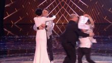 The Voice: Man bursts onto the stage as Sir Tom Jones swears on live TV in chaotic finale