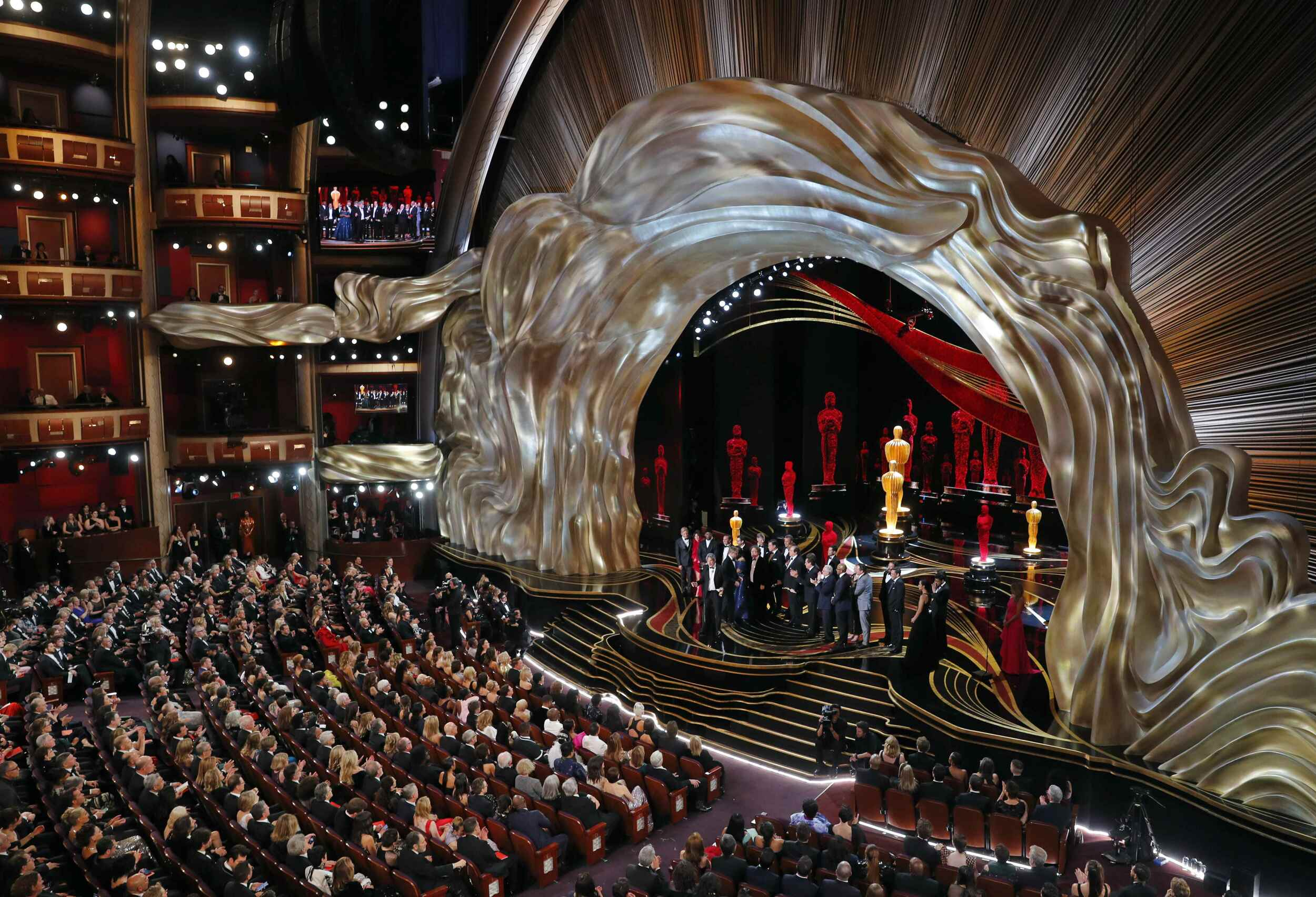 """91st Academy Awards - Oscars Show - Hollywood, Los Angeles, California, U.S., February 24, 2019. Director Peter Farrelly speaks on stage after """"Green Book"""" won the Best Picture award. REUTERS/Mike Blake"""