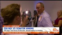 'Egg Boy' hailed hero after egging Senator Fraser Anning