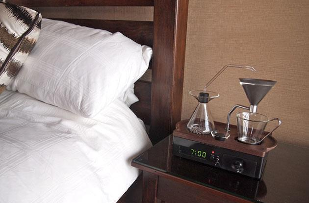 The Barisieur alarm clock automatically brews coffee while you wake