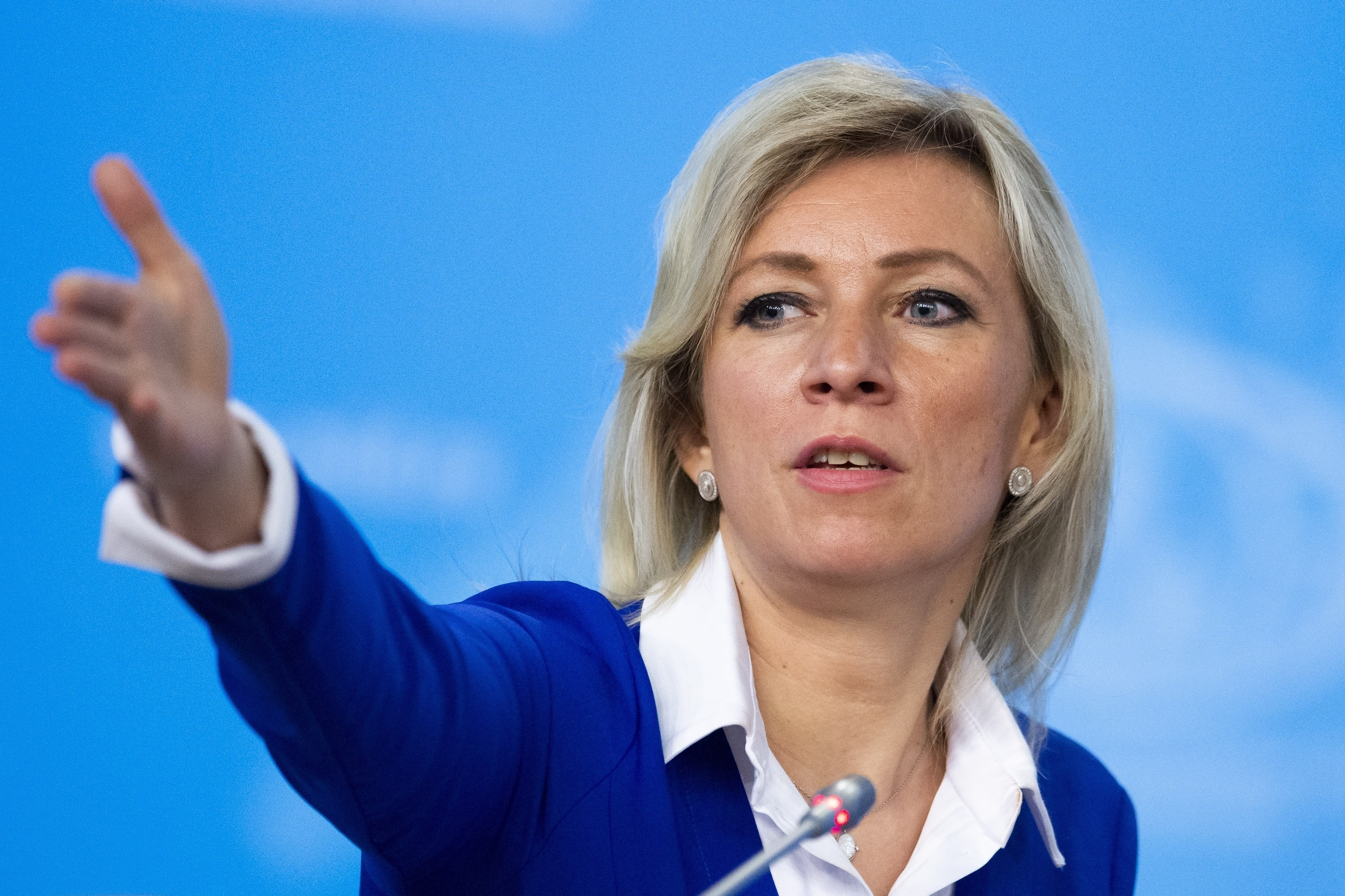 """FILE - In this Friday, Jan. 17, 2020 file photo, Russian Foreign Ministry spokesperson Maria Zakharova gestures as she attends Russian Foreign Minister Sergey Lavrov's annual roundup news conference summing up his ministry's work in 2019, in Moscow, Russia. Russia's Foreign Ministry has accused the Financial Times and the New York Times of spreading """"disinformation"""" after the two newspapers alleged that Russia's coronavirus death toll could much higher than officials report. The Ministry's spokeswoman Maria Zakharova said Wednesday May 13, 2020, that letters demanding a retraction would be passed on to editors in chief of the newspapers on Thursday. (AP Photo/Alexander Zemlianichenko, File)"""