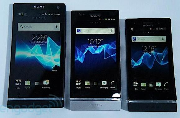 Sony's 2012 Xperia series gets together for awkward family portrait