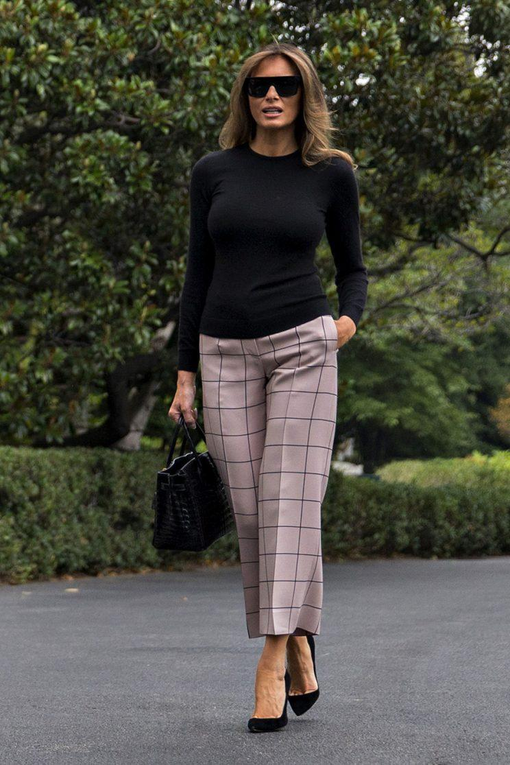 Melania Trump's travel outfit. (Photo: Getty Images)