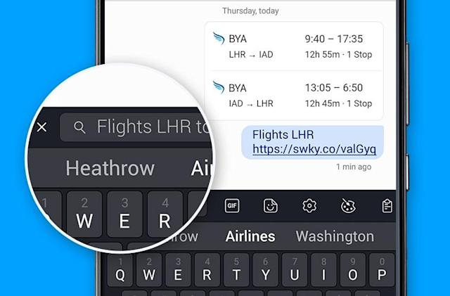 SwiftKey for Android adds a handy search function to its toolbar