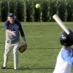 Bernie Sanders plays softball, holds rally at 'Field of Dreams' diamond