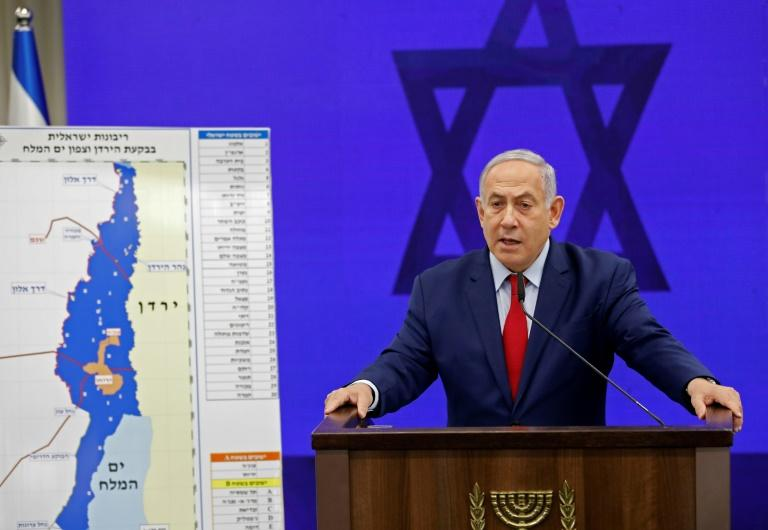 Israeli Prime Minister Benjamin Netanyahu's pre-election pledge to annex the West Bank's Jordan Valley has drawn firm condemnation from the Palestinians, Arab states, the United Nations and the European Union (AFP Photo/Menahem KAHANA)