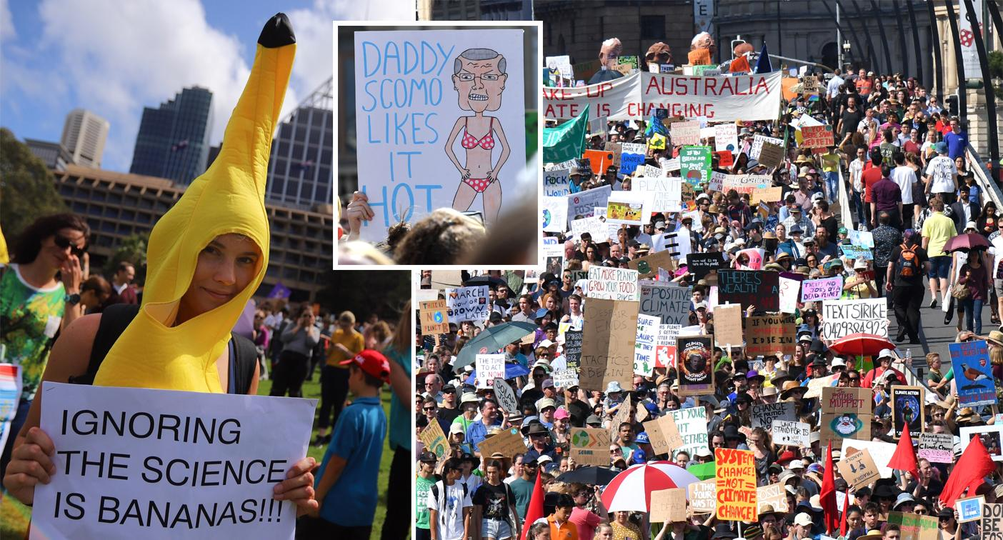 Protestors take aim at ScoMo as thousands march for climate action