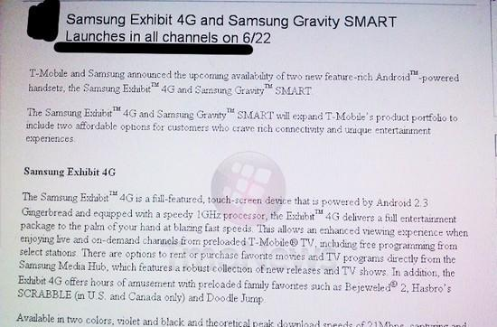 T-Mobile might launch Samsung Exhibit 4G and Gravity Smart June 22nd?