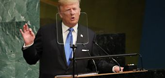 Theresa May rebukes Donald Trump at UN for his threat to pull out of Paris climate change deal