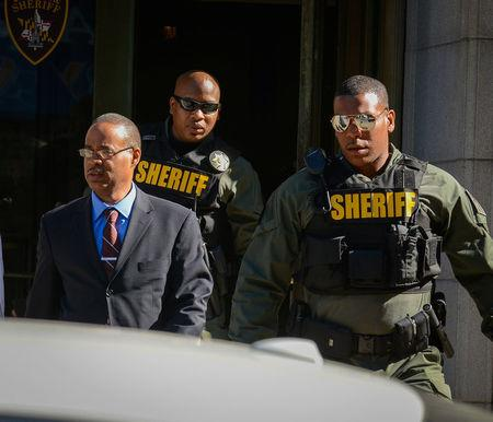 Officer Caesar Goodson leaves the courthouse following the first day of his trial in Baltimore, Maryland, U.S., June 9, 2016. REUTERS/Bryan Woolston
