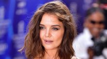 Katie Holmes skipped fall and went straight to winter in an icy, lingerie-inspired dress