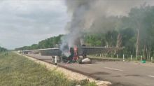 Mexican military finds plane in flames and truck carrying drugs