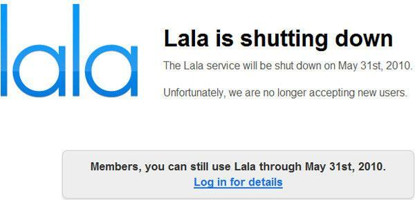 Lala closing on May 31st, web songs and unused credit will head to iTunes