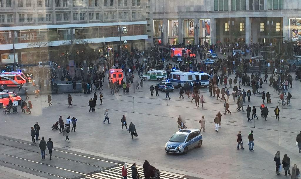 Berlin police said they made nine arrests after the fight broke out on the Alexanderplatz in the city centre