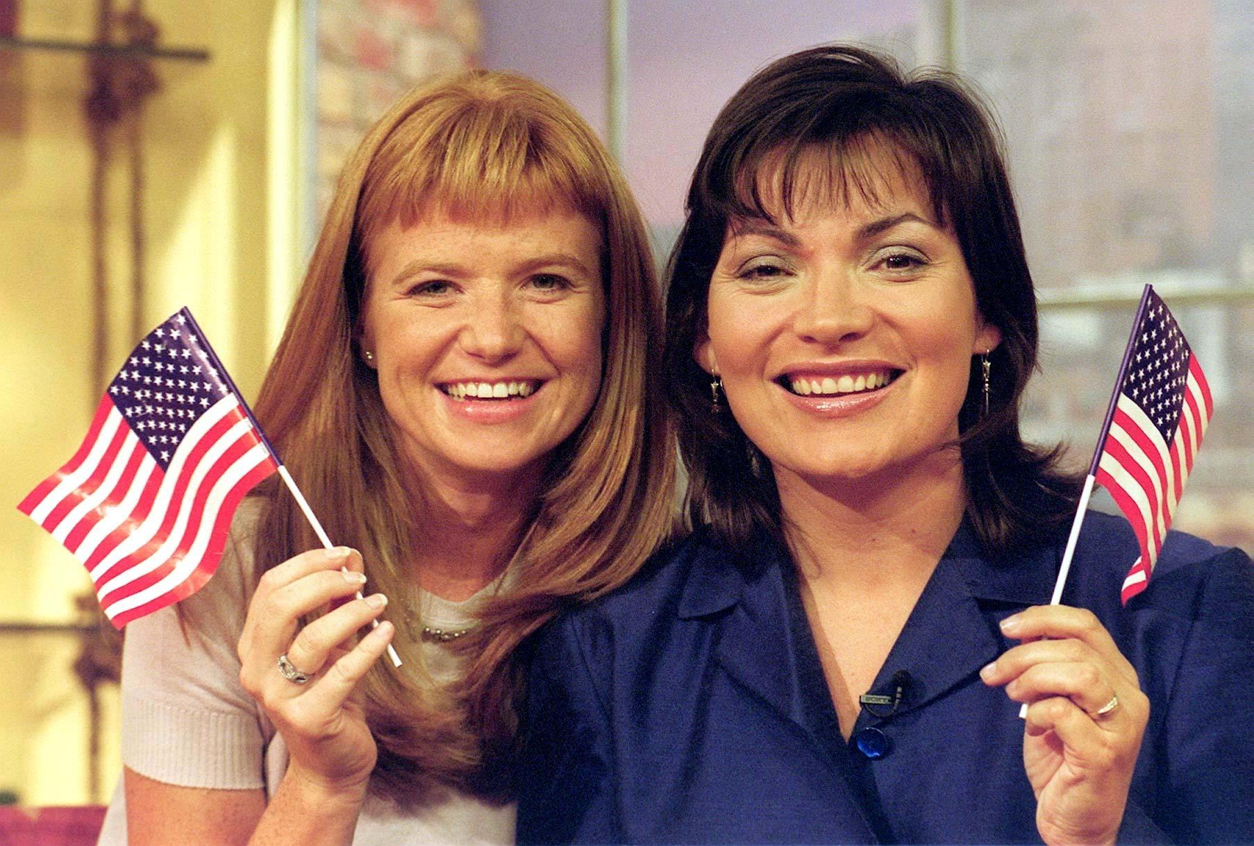 Actress Patsy Palmer (L) and GMTV presenter Lorraine Kelly at GMTV. It was announced 8/9/99 that Patsy, who plays Bianca in the BBC soap Eastenders will stand in for Lorraine for a week in October, and host the Lorraine Live section of the show from Miami.  * Palmer will be seen on Lorraine Live from 9am to 9.25am each day from Monday October 18 to Friday October 22.