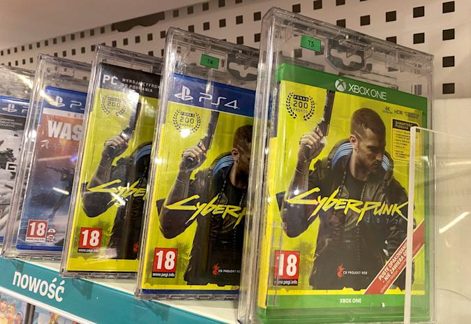 Boxes with CD Projekt's game Cyberpunk 2077 are displayed in Warsaw, Poland, December 14, 2020. REUTERS/Kacper Pempel