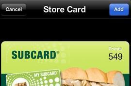 Subway UK restaurant app adds Passbook support